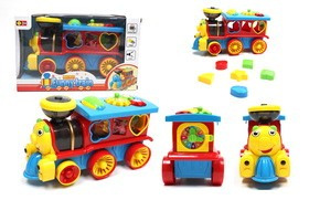 Electric universal educational light music 3D train  red/blue