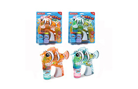 Transparent Clown Fish BO Bubble Gun/light,music,2 water,battery included