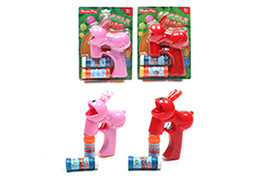 Solid color new rabbit bubble gun with double flash lights Music 2 bottles of water